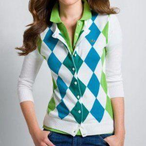 Lacoste 3/4 Sleeve Cotton Argyle Cardigan, S